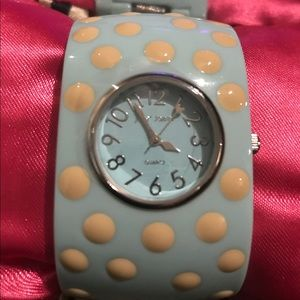 retro polka dot watch bracelet Betsey Johnson NWT